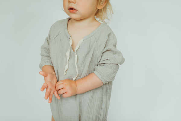 Bloom Muslin Cotton Romper in Sage