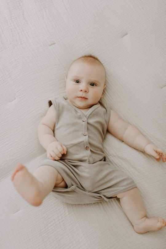 Remy French Terry Romper in Stone