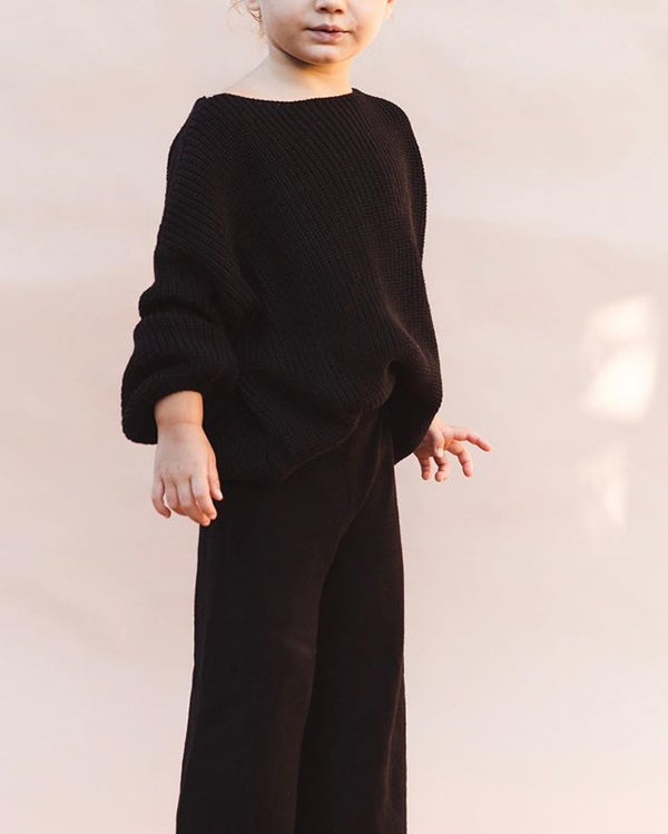 Oversize Chunky Knit Sweater | Black