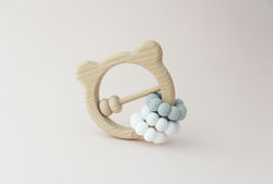 Silicone + Wood Bear Toy - Shades of Grey