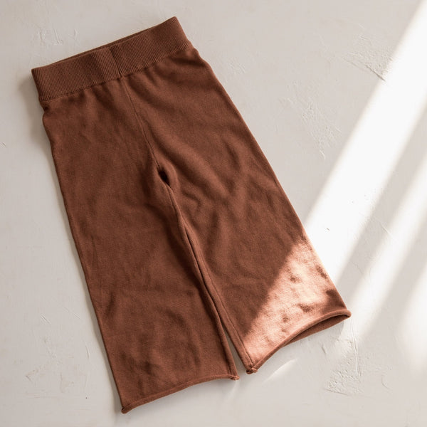 Wide Leg Knit Pants | Rust
