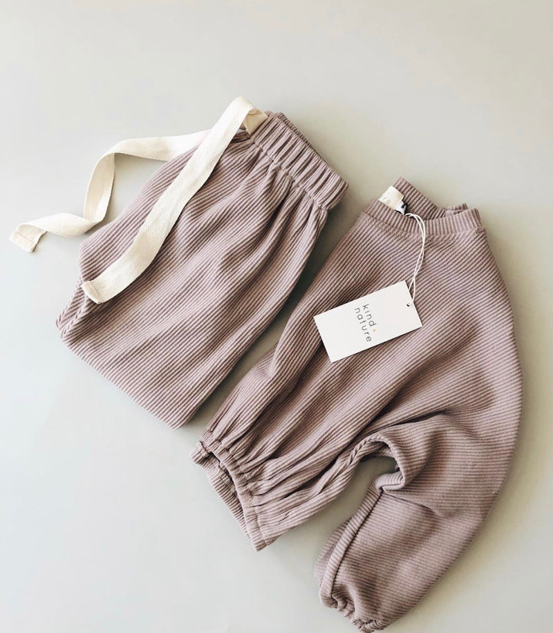 The Clover Ribbed Pants in Blush