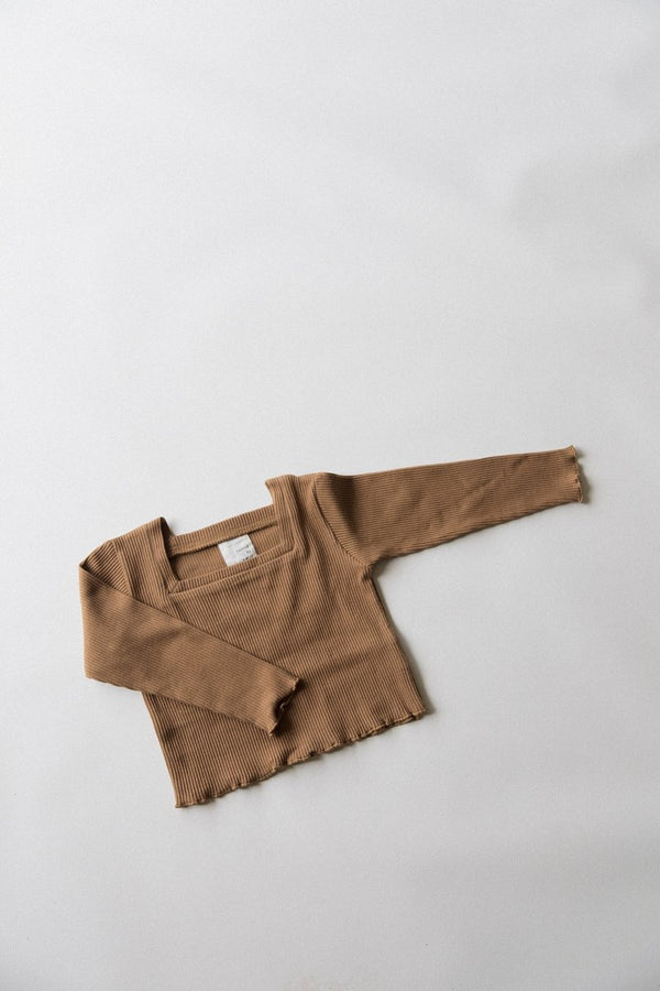 Long Sleeve Kealia Top in Caramel