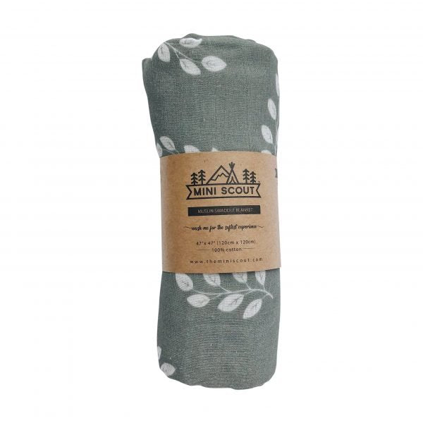 Leaves (Storm Blue) Swaddle