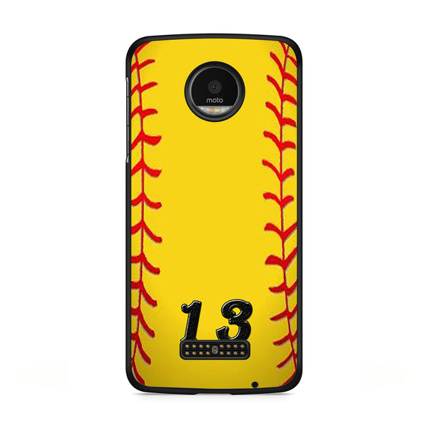 13 Custom Softball Motorola Moto Z / Moto Z Droid Edition Case