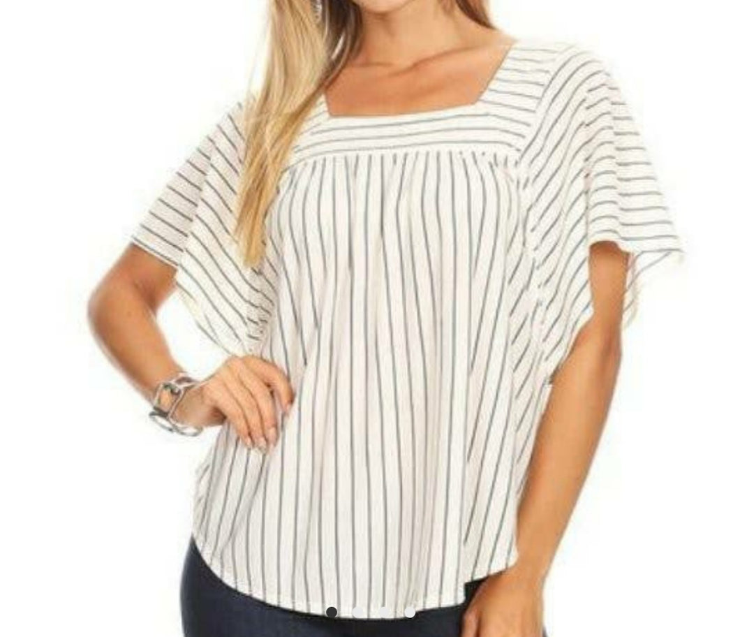 Stripe Square Neck
