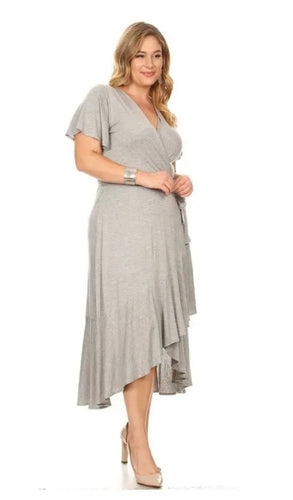 Heather Gray Midi Wrap Dress