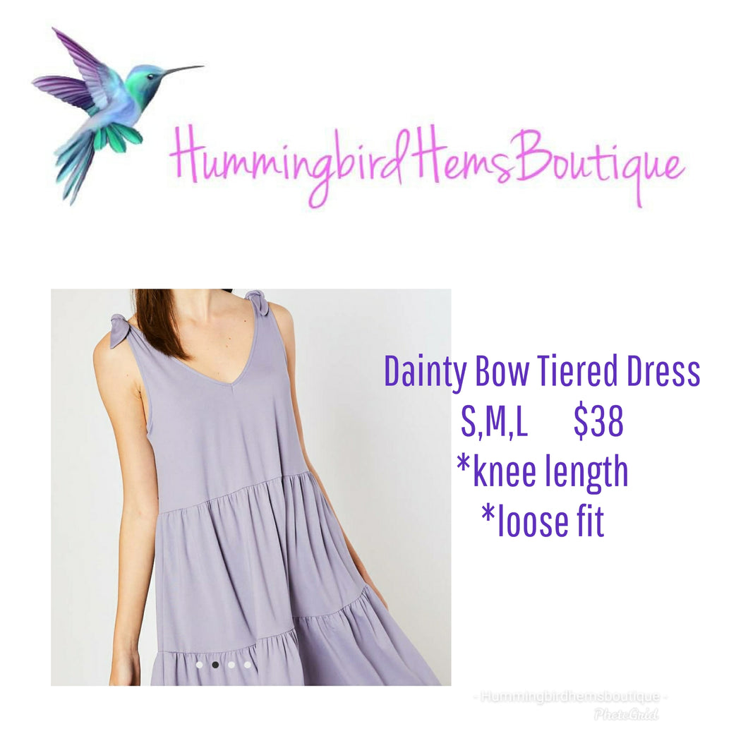 Dainty Bow Tiered Dress