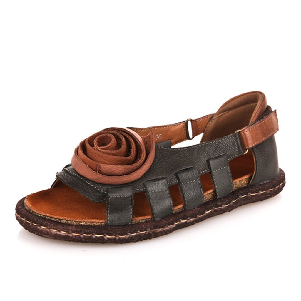 a57a90c31b1 Handmade Women s Leather Hollow Sandals Flat Leather Shoes