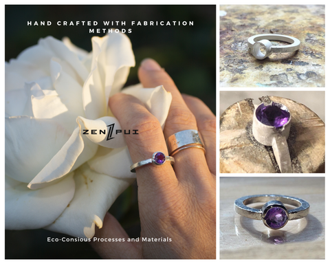 Hand holding a white rose with an amethyst ring, a hammered sterling silver ring and a 14K rose gold thin band. Three smaller pictures of the process of making the ring, the metal structure on the soldering board, the presenting of the stone into the form and the finished ring polished with a hammered finish