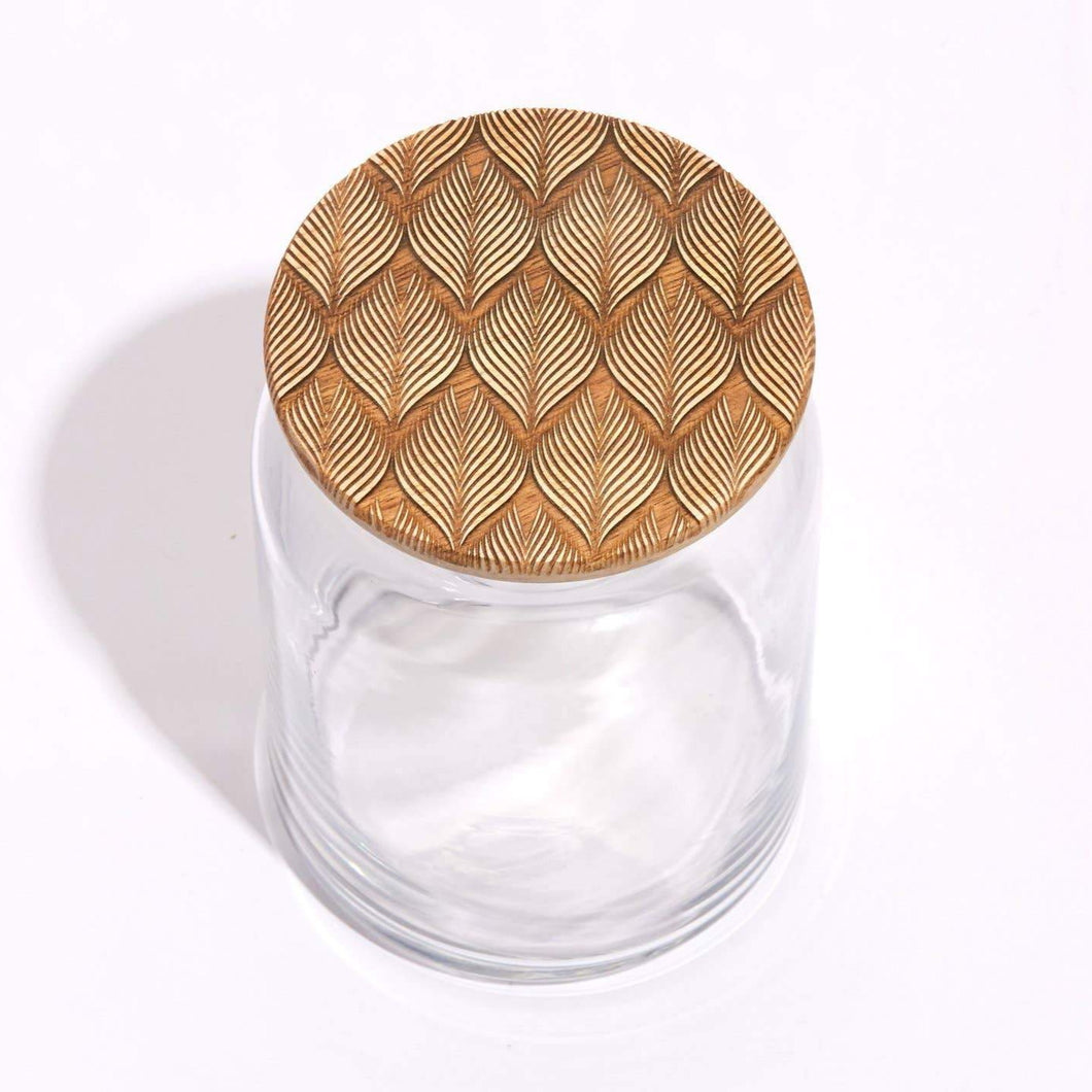 Brush Feather Wood Lid Glass Jar
