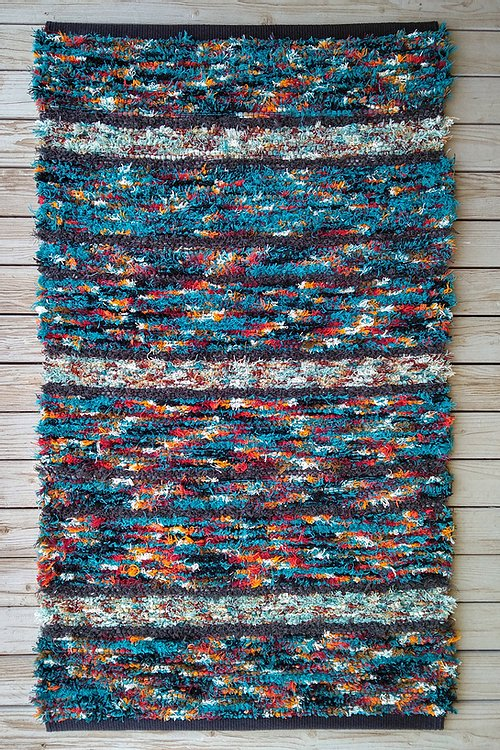 Handwoven Rug Blue and fire tones