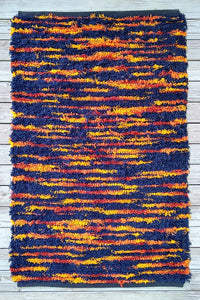 Handwoven Rug Dark Blue and Fire tones