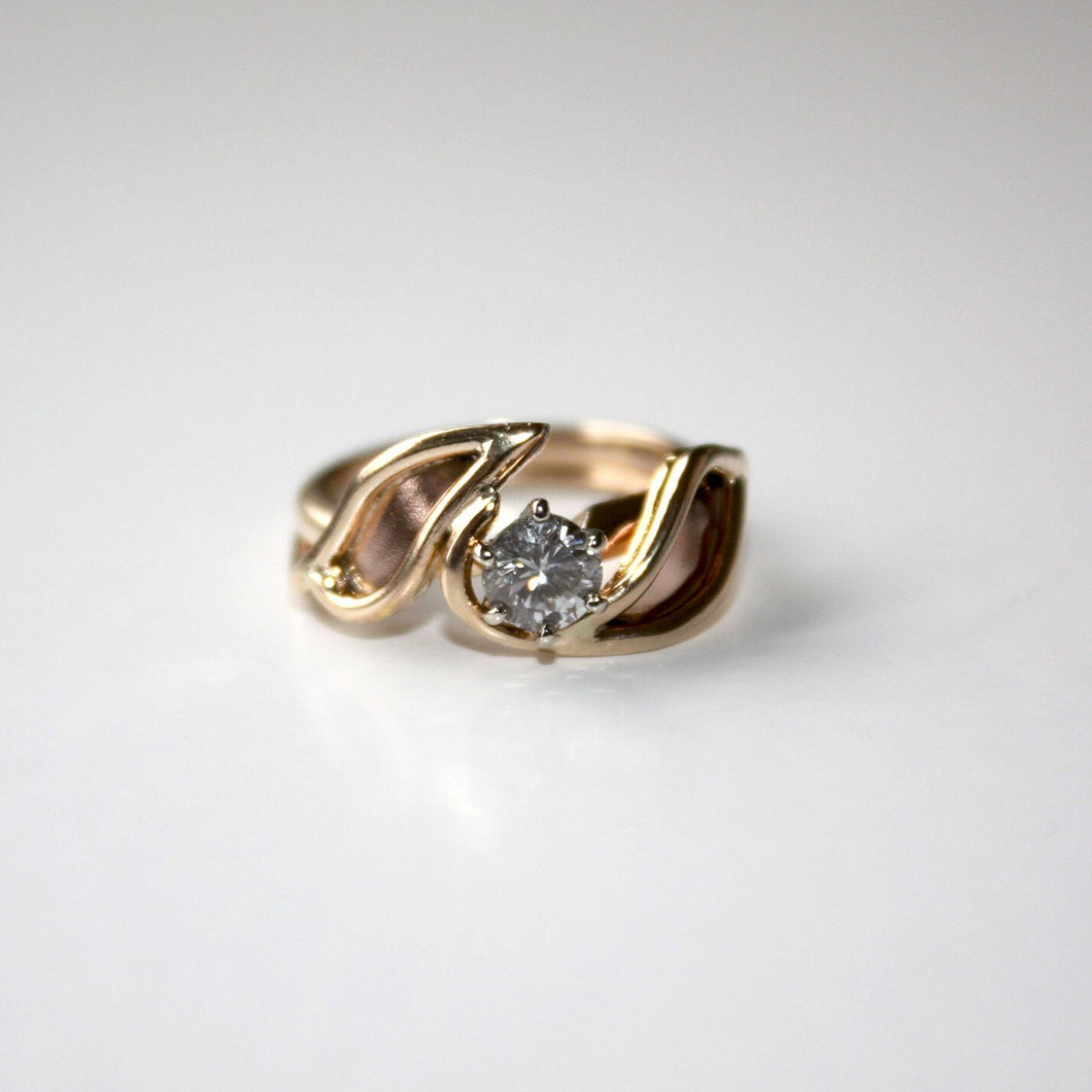 14K Gold Two Leaves Ring