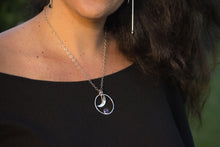 Load image into Gallery viewer, Iolite Moon Necklace on a Woman by ZENPUI