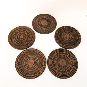 Walnut  Coaster Set