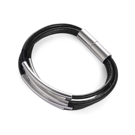 New fashion pipe tube spacers alloy multi-layer leather cord magnetic clasp bracelets for women and men - PanasiaMarine.Com