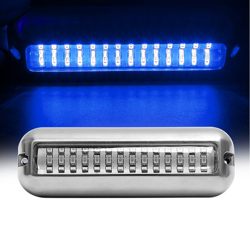 Stainless Steel White/Blue Underwater Pontoon Marine Light - PanasiaMarine.Com