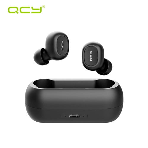QCY QS1 T1C Mini Dual V5.0 Wireless Earphones Bluetooth Earphones 3D Stereo Sound Earbuds with Dual Microphone and Charging box - PanasiaMarine.Com