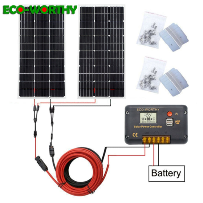 ECO 2pcs 100w 200W Solar Panel Cell Module System RV Car Marine Boat Home Use 12V /24V DIY Kit Solar Panels painel solpanel - PanasiaMarine.Com
