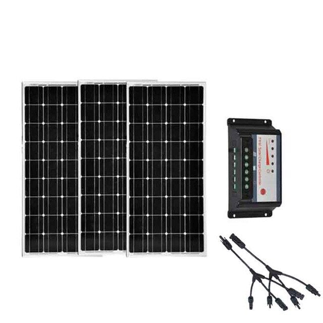 Solar Panel 12V 100W 3 Pcs/Lot Solar Charge Controller 12V/24v 30A 3 In1 Conenector Marine Yacht Boat Solar Home System - PanasiaMarine.Com