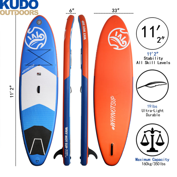 "WHYNOT Stable Inflatable Stand Up Paddle Board | 11'2""×33''×6'' 