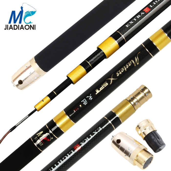 JIADIAONI Telescopic Carbon Fiber Fishing Rod 3.6M 3.9M 4.5M 4.8M 5.4M 5.7M Hard Hand Stream Taiwan Fishing Pole Fishing Tackle - PanasiaMarine.Com