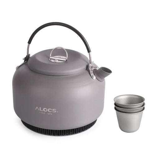 1.4L Alloy Kettle Camping Water Teapot Outdoor Coffee Pot Portable Cookware with Mesh Bag and 3 Titanium Cups - PanasiaMarine.Com