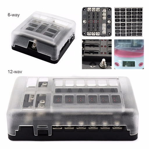 DC 12-32V Truck Motorhome Coach Boat Bus Bar Power Distribution Block Double Busbars 6-way12-way Fuse Box with LED Lights 100Amp - PanasiaMarine.Com