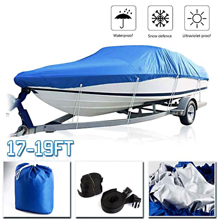 Boat Cover Waterproof Silver Reflective Fit V-HULL Fishing Boat Runabout Bass Boat Heavy Duty Trailerable Fishing SKI Protection - PanasiaMarine.Com