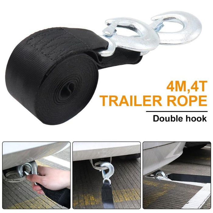 4m/13ft 4T Car Tow Rope Winch Rope String Line with Hooks Towing Strap Cable Emergency Road Trailer Rope for ATV UTV Off-Road - PanasiaMarine.Com