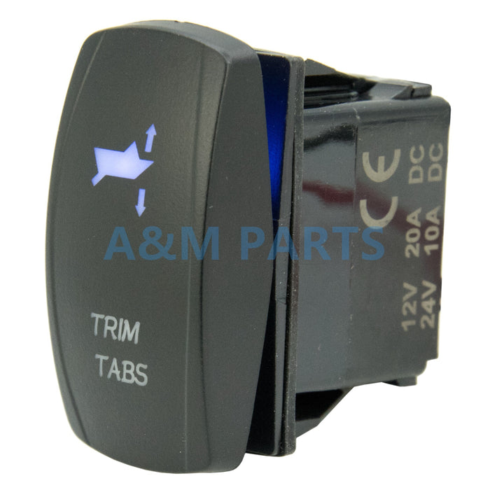 Boat TRIM TABS Right Rocket Switch LED Etched Boat 7Pin (ON)-OFF-(ON) DPDT - PanasiaMarine.Com