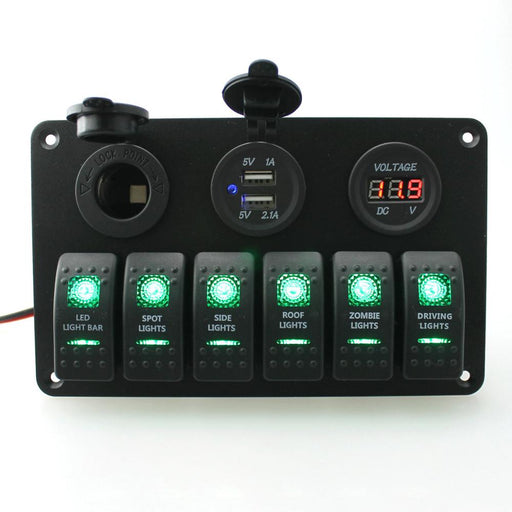 12-24V Rocker Control Patrol Dual USB Socket Power Panel Switch Car Charger Voltmeter for Yatch Camper Marine Boat Accessories - PanasiaMarine.Com
