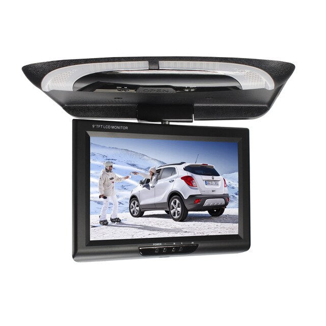 9 Inch Display Multimedia With Remote Controller LCD Color CD Player Dome Lights DVD Roof Mount Car Monitor Flip Down ABS Video - PanasiaMarine.Com