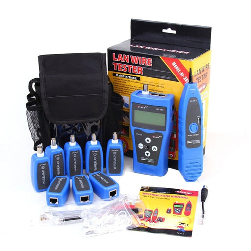Noyafa NF-388 English Version Multi-functional Network Cable Tester Remote Cable Tracker RJ45 RJ11 LAN Tester LCD Display Blue - PanasiaMarine.Com