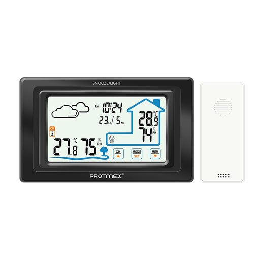 Protmex PT19A Weather Station Wireless Indoor Outdoor Touch Screen Weather Station Wireless Temperature and Humidity Monitor - PanasiaMarine.Com
