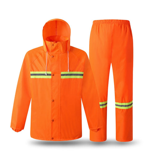 Reflective Raincoat Construction Sanitation Fluorescent Rain Gear Traffic Waterproof Windproof Work Jacket Outdoor Fishing Suit - PanasiaMarine.Com