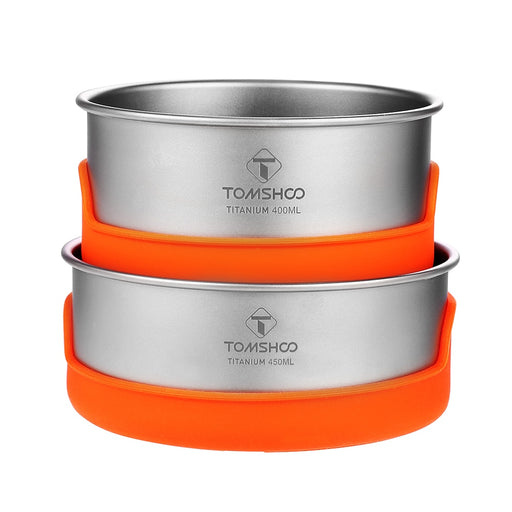 TOMSHOO Ultralight Titanium Bowl Sets Silicone Insulation Camping Bowl Outdoor Tableware Picnic Water Cup Mug Camping Cookware - PanasiaMarine.Com