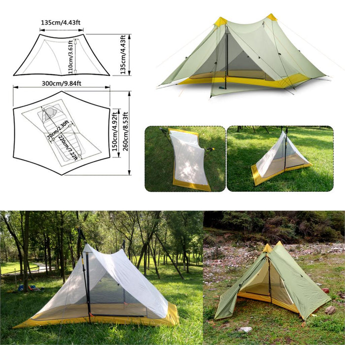 1080g Ultralight Camping Tent 2 Person 20D Nylon Both Side Silicone Coated Rodless Pyramid Flysheet & 3 Season Single Inner Tent - PanasiaMarine.Com