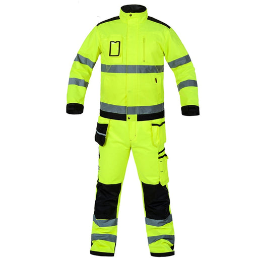 Bauskydd High visibility workwear suit work suit fluorescent yellow work jacket work pants with knee pads  free shipping - PanasiaMarine.Com