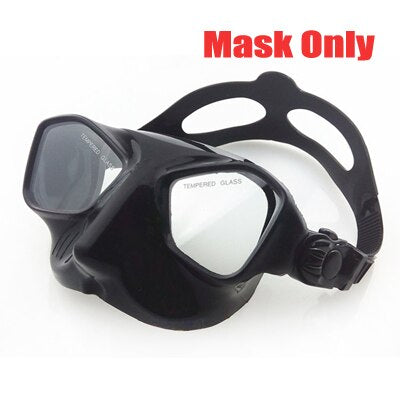 DEEPGEAR Top Scuba diving gears and snorkel equipment Black silicone diving mask Low profile spearfishing mask flexable snorkel - PanasiaMarine.Com