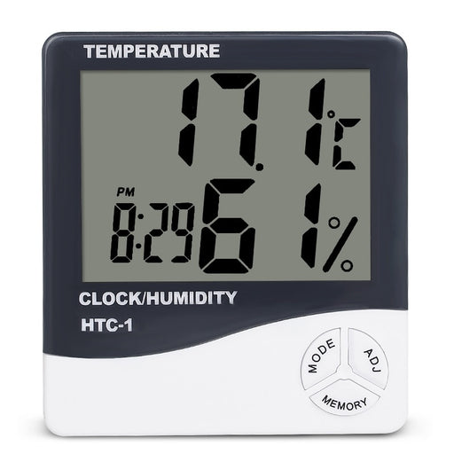 Indoor Room LCD Electronic Temperature Humidity Meter Digital Thermometer Hygrometer Weather Station Alarm Clock HTC-1 - PanasiaMarine.Com