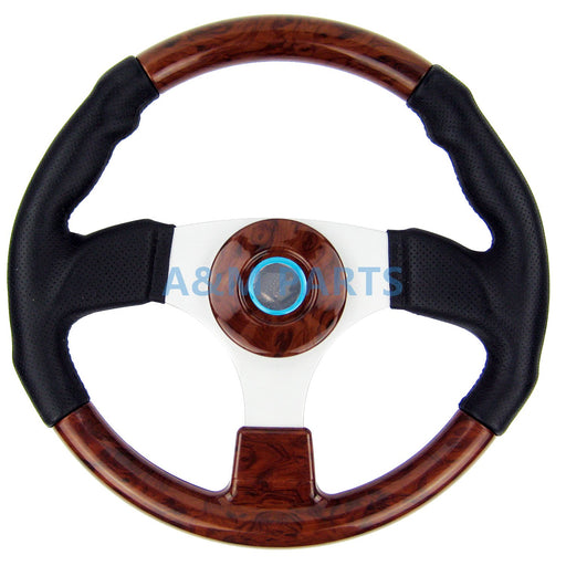 "Marine Steering Wheel Burl Wood PU Cover Aluminum Spoke Pontoon Power Boat Steering 13.5"" - PanasiaMarine.Com"