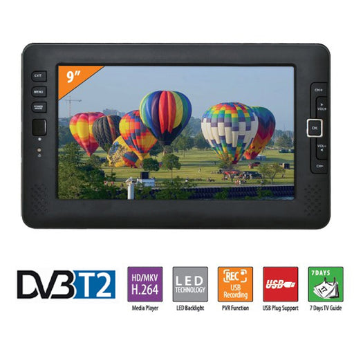 9inch Portable Car TV Television DVB-T2 digital Car TV Receiver AV USB MP3 MP4 TV Program Recording - PanasiaMarine.Com