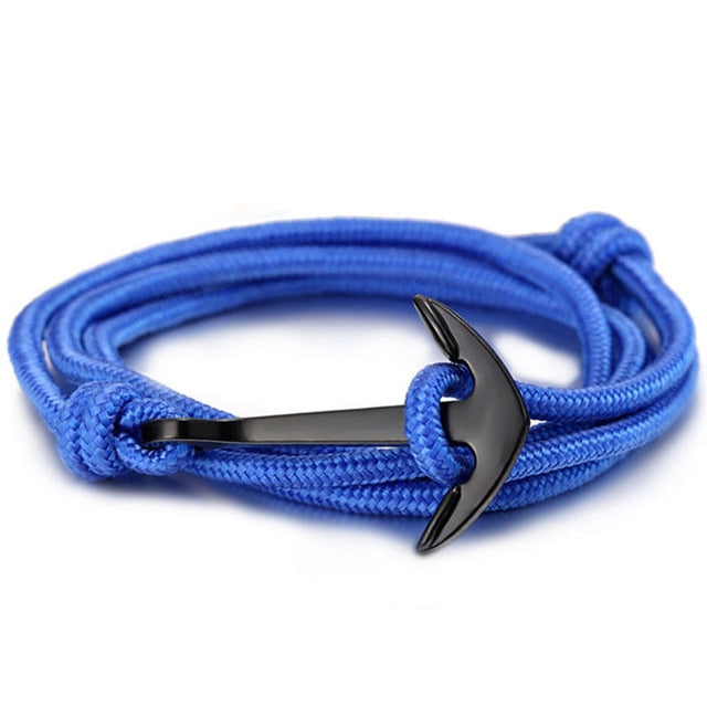 High quality fashion black anchor bracelet men's charm survival rope chain leather friendship bracelet men and women jewelry - PanasiaMarine.Com