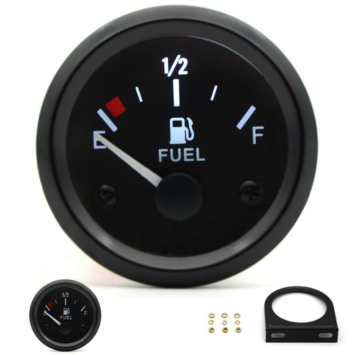 "2"" 52mm Fuel Level Gauge Car Meter White LED Light Black Rim Automotive Gauges 12V - PanasiaMarine.Com"