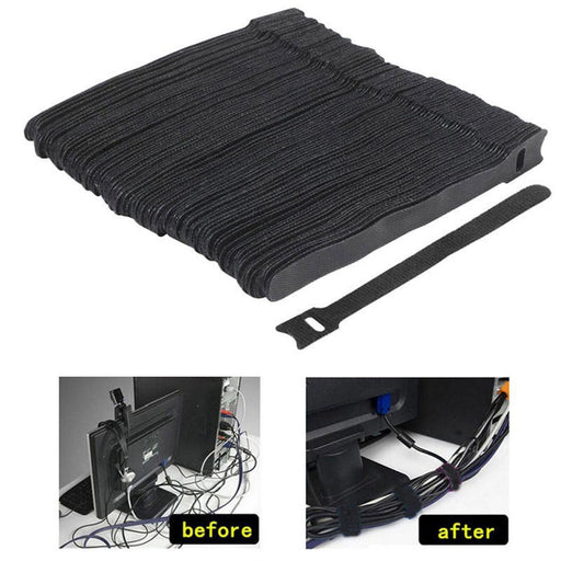Mayitr 50Pcs 1.2X15CM Reusable Cable Nylon Strap Black Cable Cord Hook and Loop Ties Tidy Organiser for Cable Winder - PanasiaMarine.Com