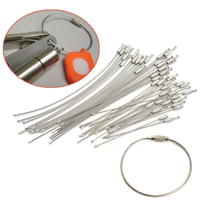 10Pcs 1.5/2mm EDC Keychain Tag Rope Stainless Steel Wire Cable Loop Screw Lock Gadget Ring Key Keyring Circle Camp Hanging Tool - PanasiaMarine.Com