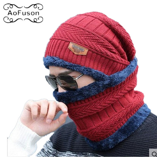 Winter Mask Neck Warmer Cap Knitted Skiing Bibs Hat Snow Sport Snowmobile Men Ladies Beanie Skullies Beanies Thicken Scarf Mask - PanasiaMarine.Com