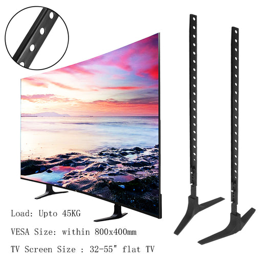 "LEORY TV Stand Base Alloy+ Steel Plasma LCD Flat Screen Universal Table Top Pedestal Mount 32-55"" Height Adjustable Easy Install - PanasiaMarine.Com"